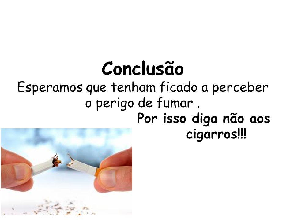 Conclusão Esperamos que tenham ficado a perceber o perigo de fumar. Por isso diga não aos cigarros!!!