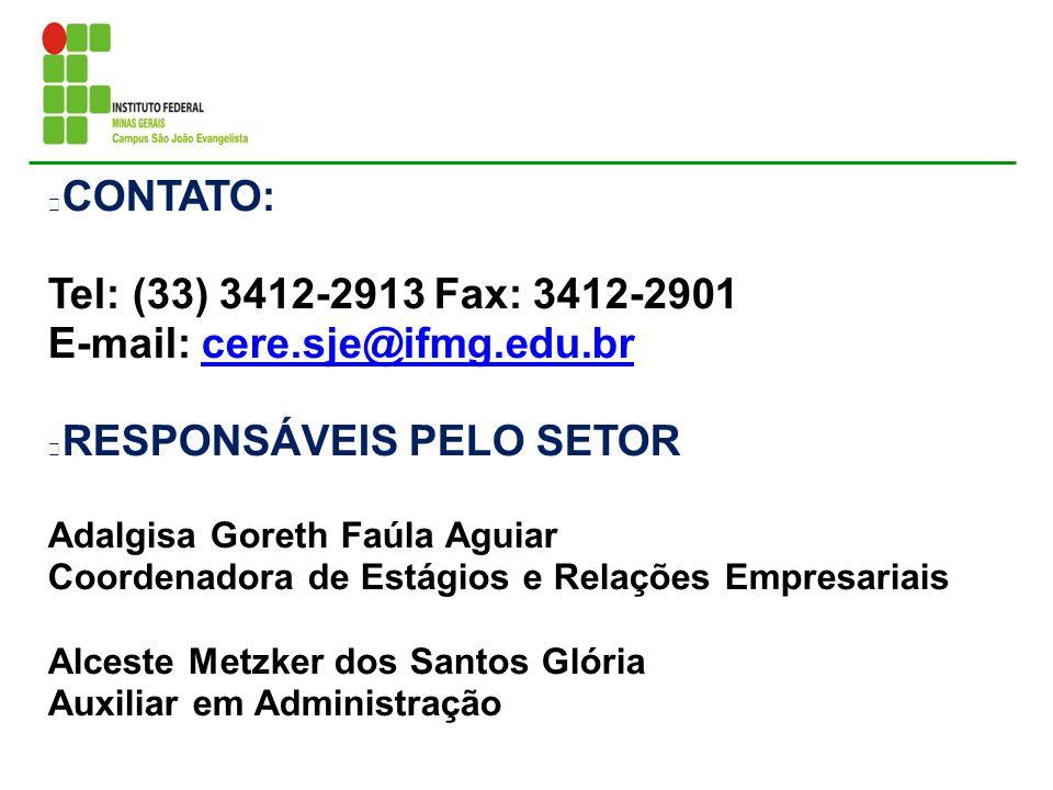CONTATO: Tel: (33) 3412-2913 Fax: 3412-2901 E-mail: cere.sje@ifmg.edu.brcere.sje@ifmg.edu.br RESPONSÁVEIS PELO SETOR Adalgisa Goreth Faúla Aguiar Coor