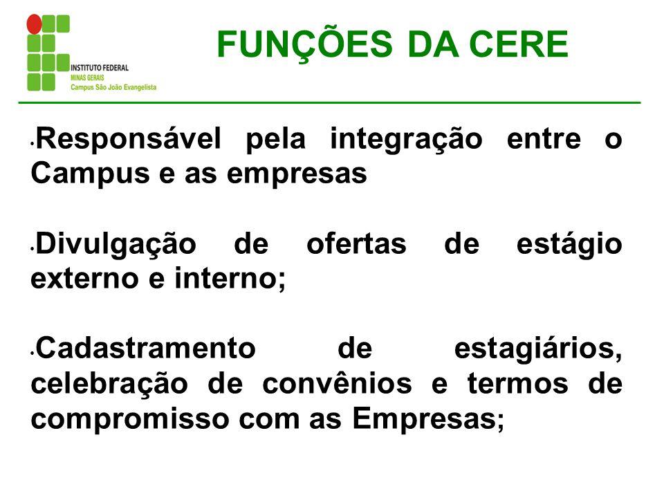 FUNÇÕES DA CERE Responsável pela integração entre o Campus e as empresas Divulgação de ofertas de estágio externo e interno; Cadastramento de estagiár