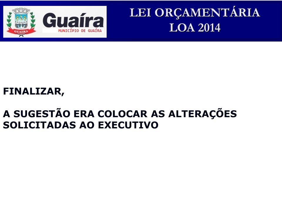 LEI ORÇAMENTÁRIA LOA 2014