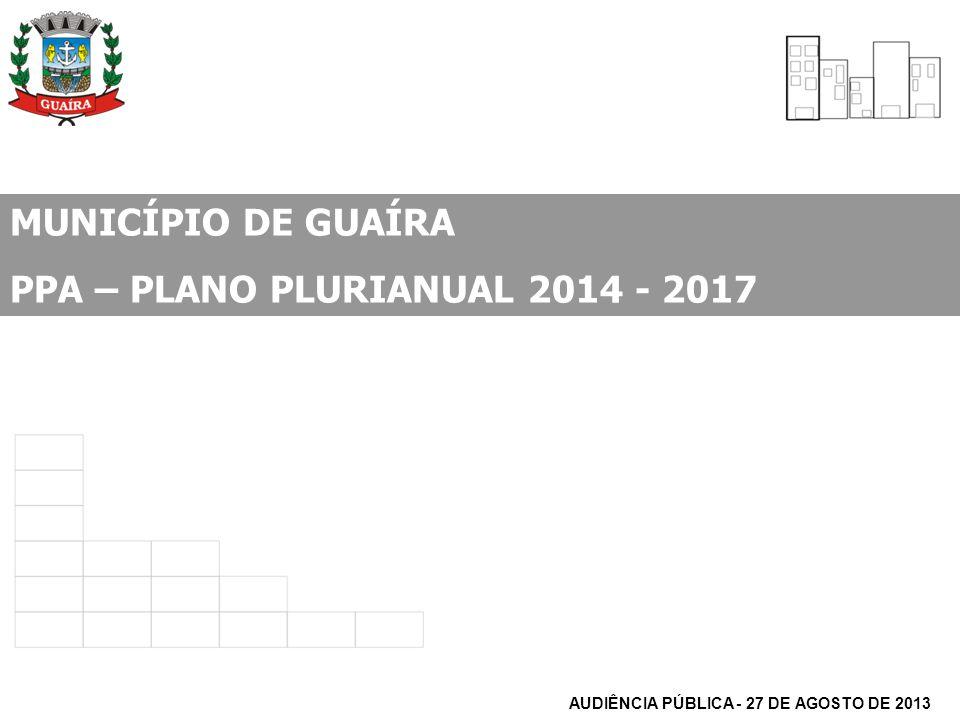 MUNICÍPIO DE GUAÍRA PPA – PLANO PLURIANUAL 2014 - 2017 AUDIÊNCIA PÚBLICA - 27 DE AGOSTO DE 2013