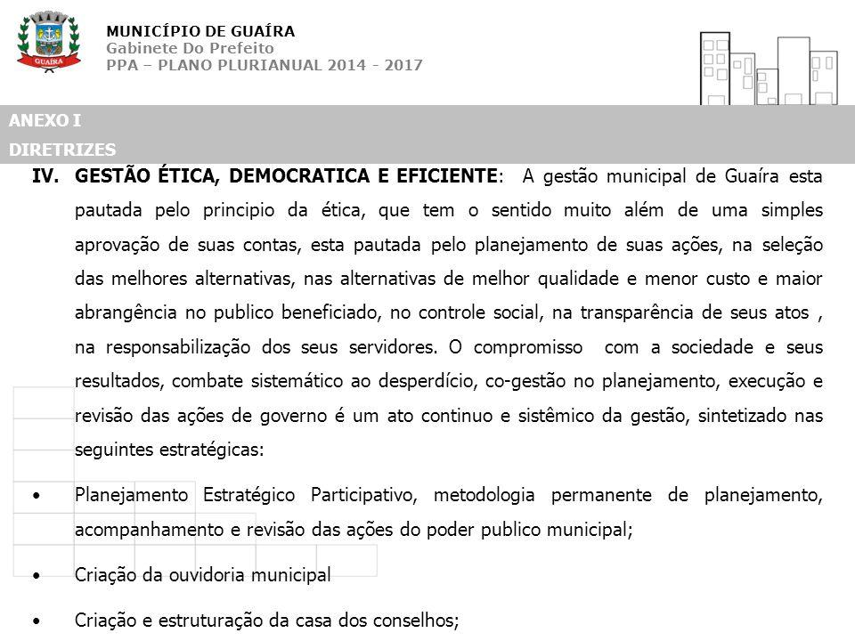 MUNICÍPIO DE GUAÍRA Gabinete Do Prefeito PPA – PLANO PLURIANUAL 2014 - 2017 ANEXO I DIRETRIZES IV.GESTÃO ÉTICA, DEMOCRATICA E EFICIENTE: A gestão muni