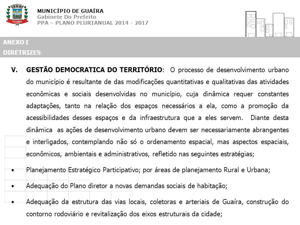 MUNICÍPIO DE GUAÍRA Gabinete Do Prefeito PPA – PLANO PLURIANUAL 2014 - 2017 ANEXO I DIRETRIZES V.GESTÃO DEMOCRATICA DO TERRITÓRIO: O processo de desen