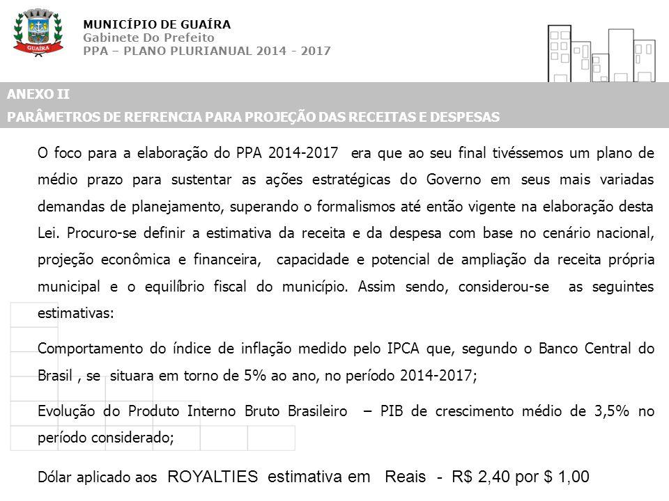 MUNICÍPIO DE GUAÍRA Gabinete Do Prefeito PPA – PLANO PLURIANUAL 2014 - 2017 ANEXO II PARÂMETROS DE REFRENCIA PARA PROJEÇÃO DAS RECEITAS E DESPESAS O f