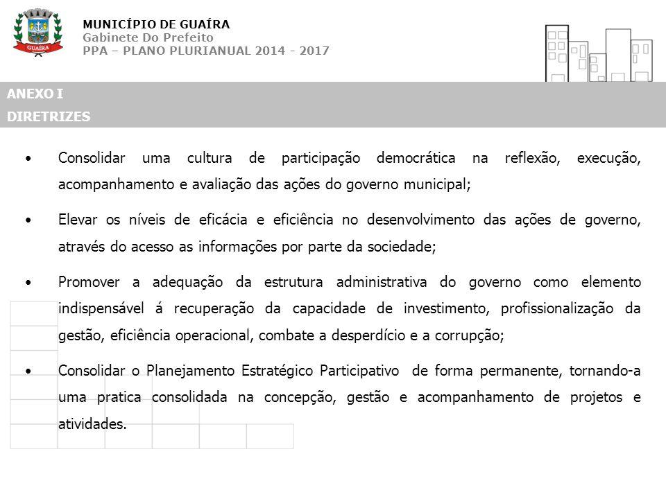 MUNICÍPIO DE GUAÍRA Gabinete Do Prefeito PPA – PLANO PLURIANUAL 2014 - 2017 ANEXO I DIRETRIZES Consolidar uma cultura de participação democrática na r