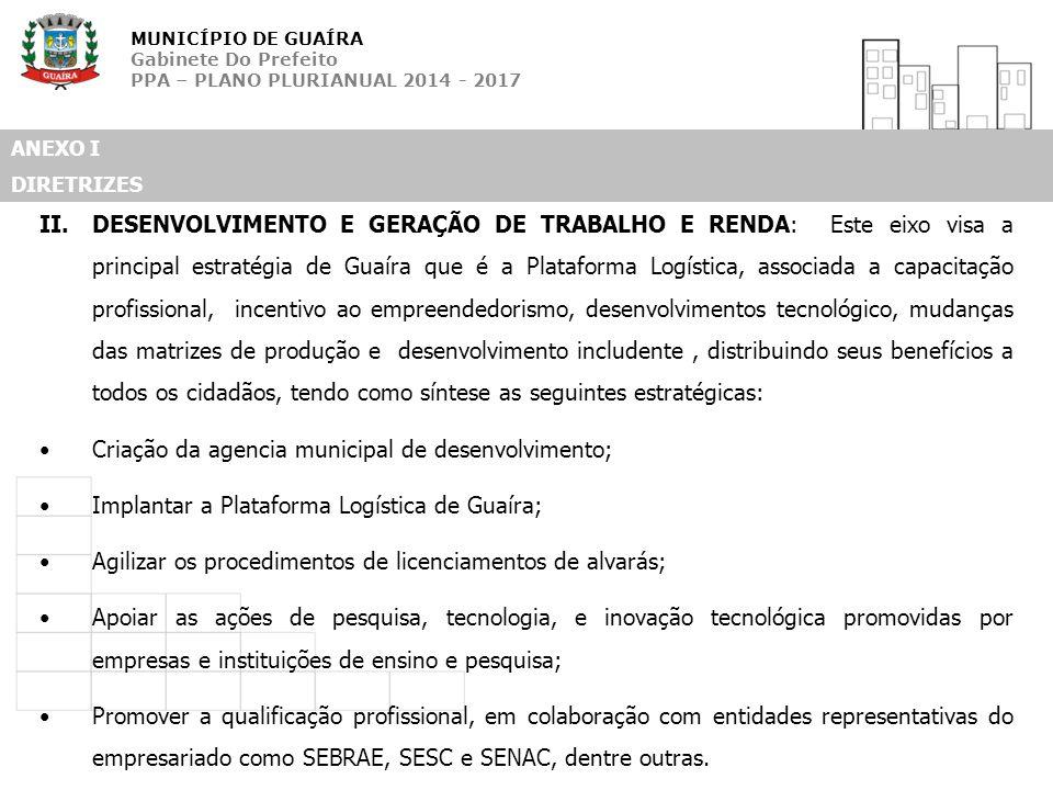 MUNICÍPIO DE GUAÍRA Gabinete Do Prefeito PPA – PLANO PLURIANUAL 2014 - 2017 ANEXO I DIRETRIZES II.DESENVOLVIMENTO E GERAÇÃO DE TRABALHO E RENDA: Este