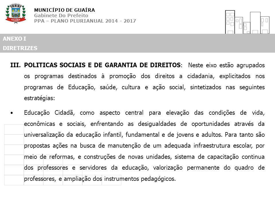 MUNICÍPIO DE GUAÍRA Gabinete Do Prefeito PPA – PLANO PLURIANUAL 2014 - 2017 ANEXO I DIRETRIZES III.POLITICAS SOCIAIS E DE GARANTIA DE DIREITOS: Neste