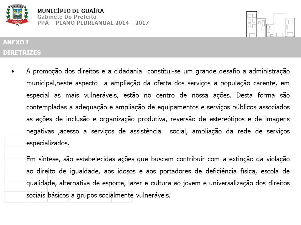 MUNICÍPIO DE GUAÍRA Gabinete Do Prefeito PPA – PLANO PLURIANUAL 2014 - 2017 ANEXO I DIRETRIZES A promoção dos direitos e a cidadania constitui-se um g