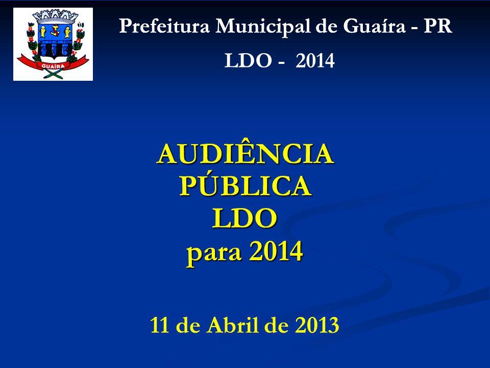 Prefeitura Municipal de Guaíra - PR LDO - 2014 11 de Abril de 2013 AUDIÊNCIA PÚBLICA LDO para 2014