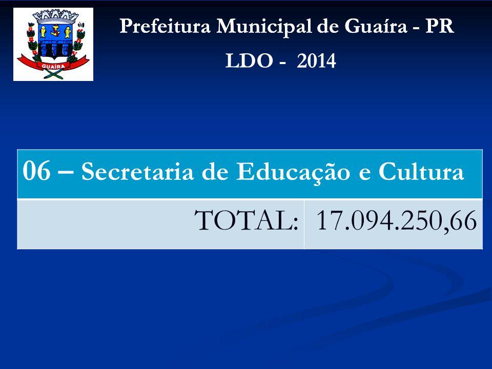 Prefeitura Municipal de Guaíra - PR LDO - 2014 06 – Secretaria de Educação e Cultura TOTAL:17.094.250,66