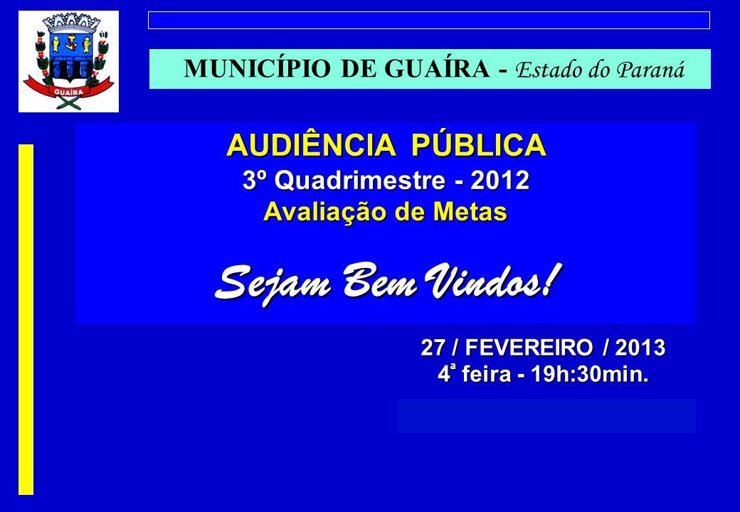 MUNICÍPIO DE GUAÍRA - Estado do Paraná AUDIÊNCIA PÚBLICA 3º Quadrimestre - 2012 Avaliação de Metas Sejam Bem Vindos.