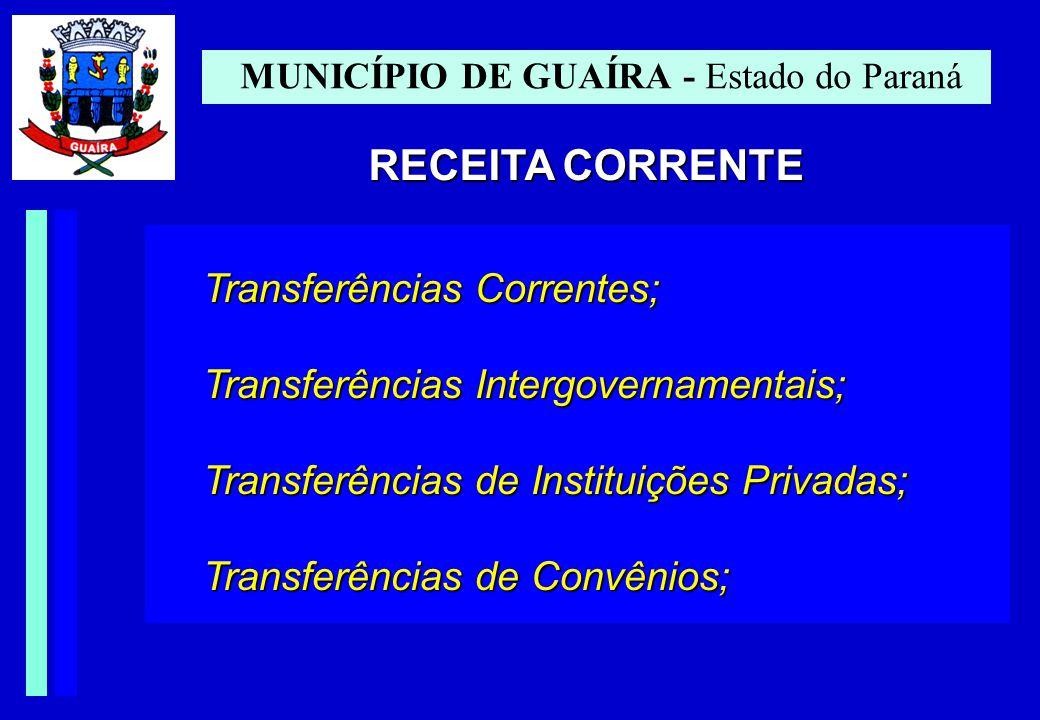 MUNICÍPIO DE GUAÍRA - Estado do Paraná RECEITA CORRENTE Transferências Correntes; Transferências Intergovernamentais; Transferências de Instituições Privadas; Transferências de Convênios;
