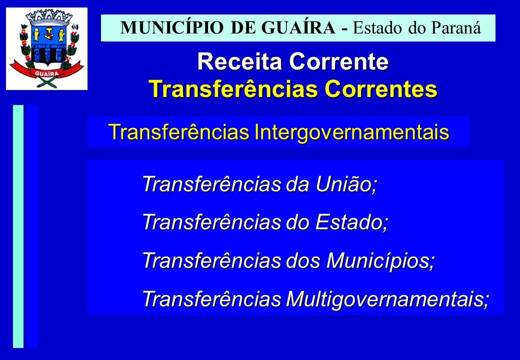 MUNICÍPIO DE GUAÍRA - Estado do Paraná Receita Corrente Transferências Correntes Transferências Intergovernamentais Transferências da União; Transferências do Estado; Transferências dos Municípios; Transferências Multigovernamentais;