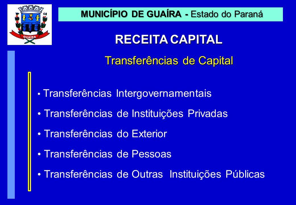 RECEITA CAPITAL Transferências de Capital MUNICÍPIO DE GUAÍRA - Estado do Paraná MUNICÍPIO DE GUAÍRA - Estado do Paraná Transferências Intergovernamentais Transferências de Instituições Privadas Transferências do Exterior Transferências de Pessoas Transferências de Outras Instituições Públicas