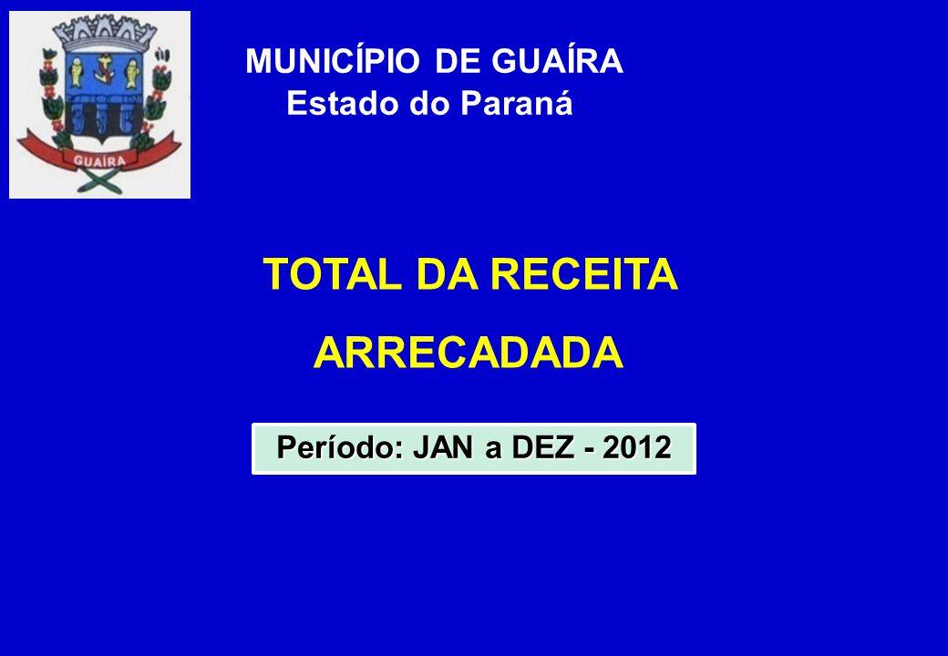 TOTAL DA RECEITA ARRECADADA MUNICÍPIO DE GUAÍRA Estado do Paraná Período: JAN a DEZ - 2012