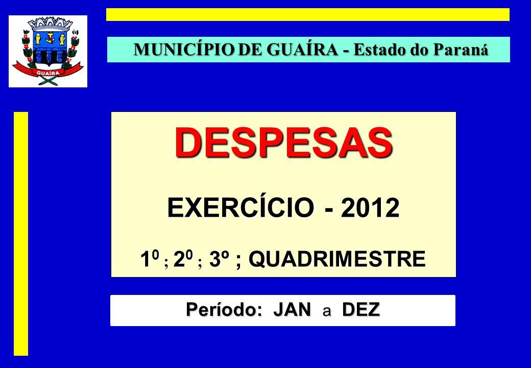 DESPESAS EXERCÍCIO - 2012 1 0 ; 2 0 ; 3º ; QUADRIMESTRE MUNICÍPIO DE GUAÍRA - Estado do Paran á Período: JAN a DEZ