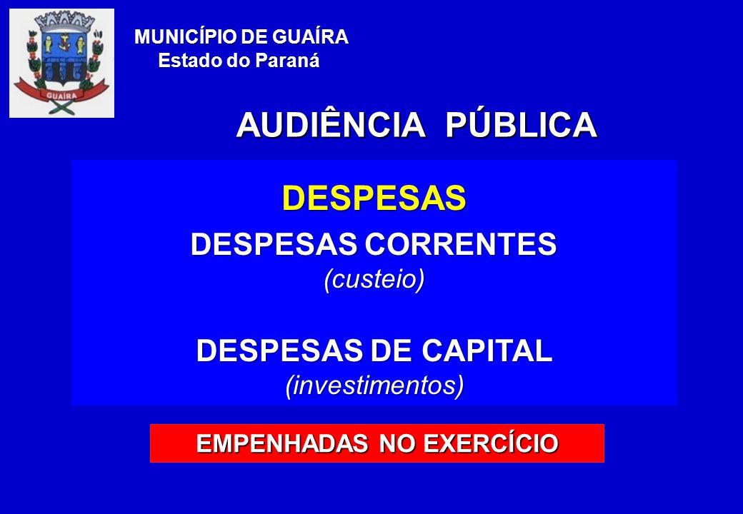 AUDIÊNCIA PÚBLICA MUNICÍPIO DE GUAÍRA Estado do Paraná DESPESAS DESPESAS CORRENTES (custeio) DESPESAS DE CAPITAL (investimentos) EMPENHADAS NO EXERCÍCIO