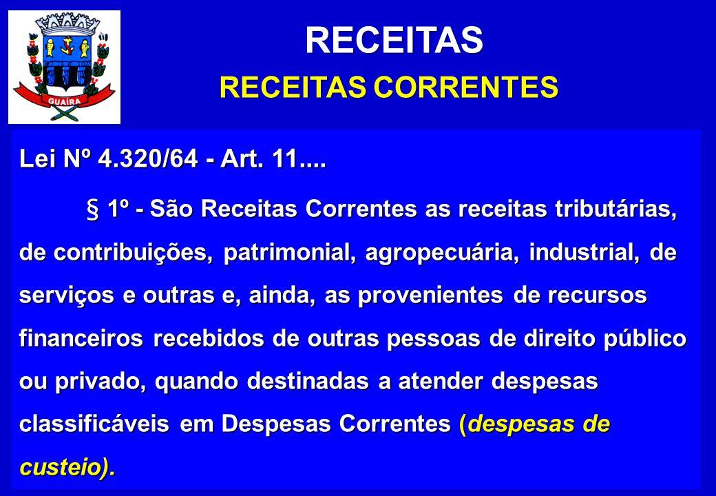 RECEITAS RECEITAS CORRENTES Lei Nº 4.320/64 - Art.