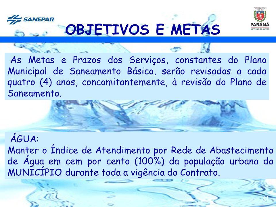 11 ÁGUA: Manter o Índice de Atendimento por Rede de Abastecimento de Água em cem por cento (100%) da população urbana do MUNICÍPIO durante toda a vigê