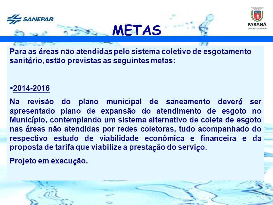 14 METAS Para as á reas não atendidas pelo sistema coletivo de esgotamento sanit á rio, estão previstas as seguintes metas:  2014-2016 Na revisão do