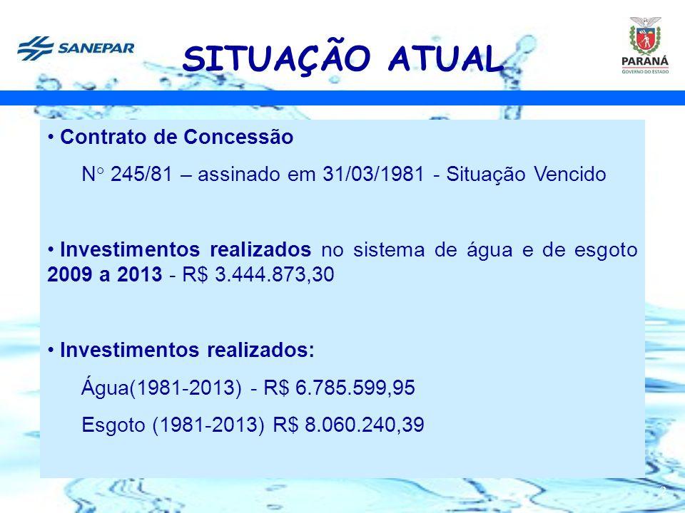 2 SITUAÇÃO ATUAL Contrato de Concessão N° 245/81 – assinado em 31/03/1981 - Situação Vencido Investimentos realizados no sistema de água e de esgoto 2