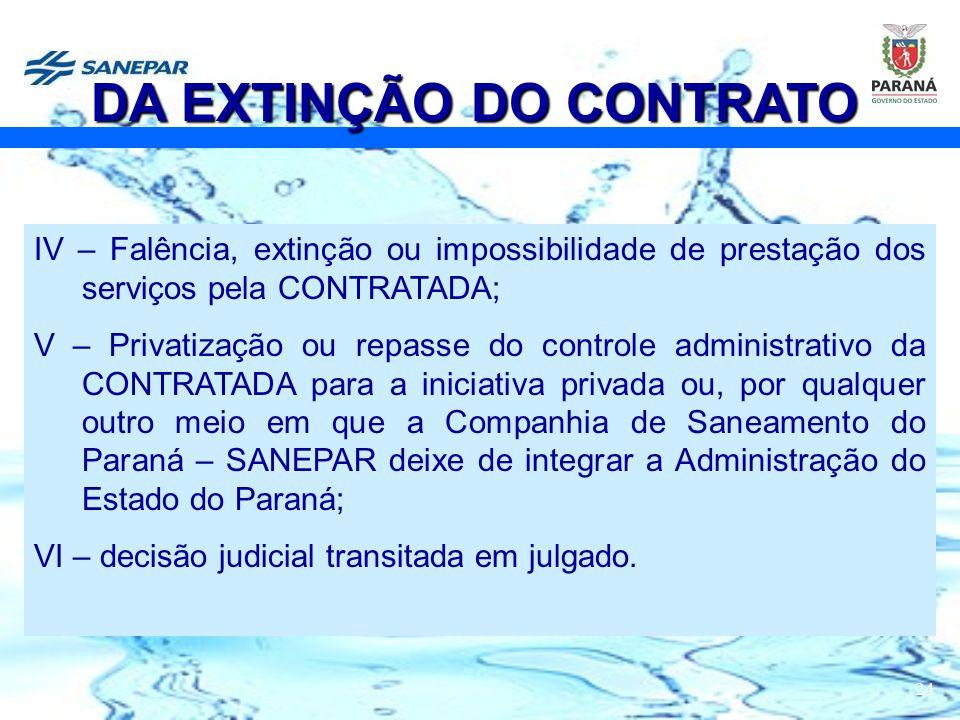 24 IV – Falência, extinção ou impossibilidade de prestação dos serviços pela CONTRATADA; V – Privatização ou repasse do controle administrativo da CON