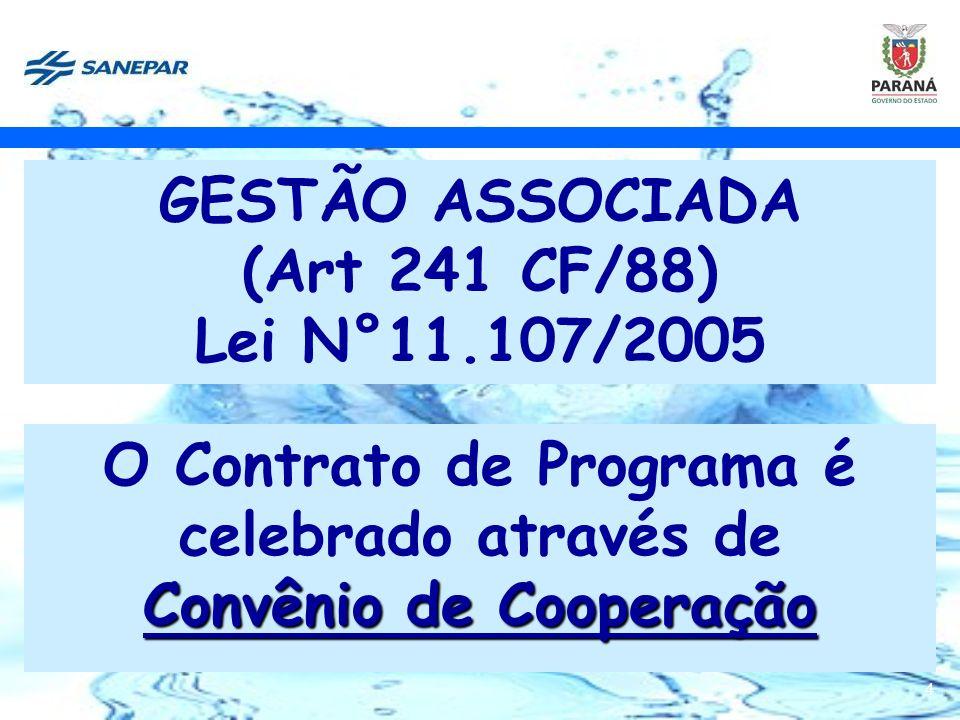 4 GESTÃO ASSOCIADA (Art 241 CF/88) Lei N°11.107/2005 O Contrato de Programa é celebrado através de Convênio de Cooperação