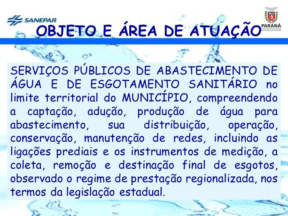 7 SERVIÇOS PÚBLICOS DE ABASTECIMENTO DE ÁGUA E DE ESGOTAMENTO SANITÁRIO no limite territorial do MUNICÍPIO, compreendendo a captação, adução, produção