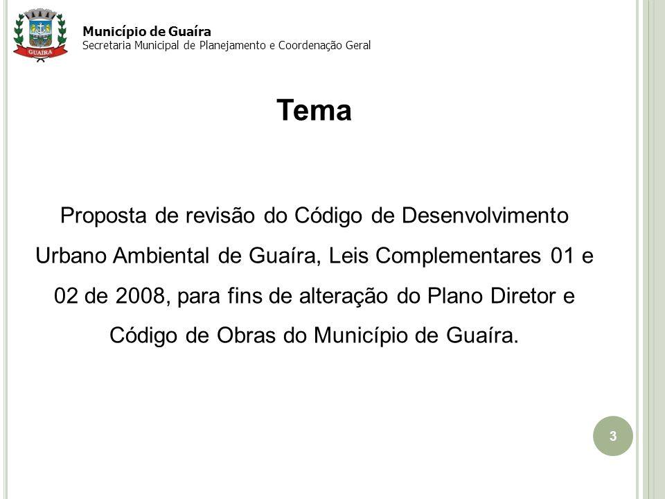 4 Objetivo Proposta de revisão do Código de Desenvolvimento Urbano Ambiental de Guaíra tem como objetivo adequar as normativas a uma nova realidade de crescimento e ordenamento da cidade em resposta novas demandas e necessidades Município de Guaíra Secretaria Municipal de Planejamento e Coordenação Geral