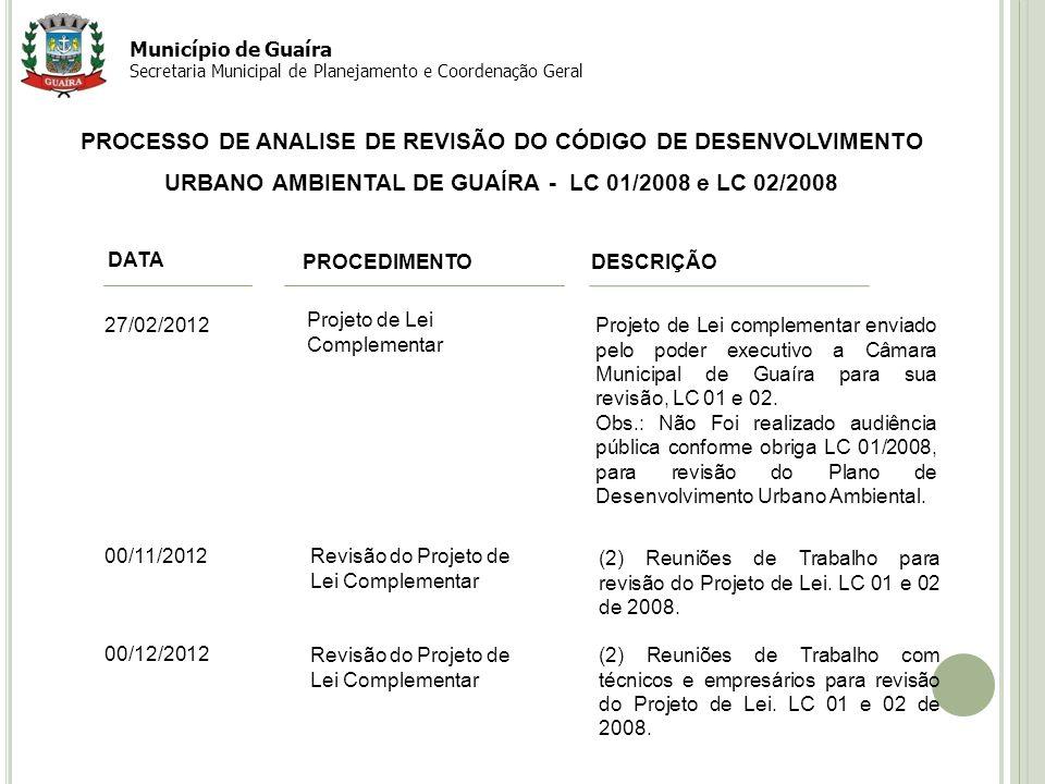 6 PROCESSO DE ANALISE DE REVISÃO DO CÓDIGO DE DESENVOLVIMENTO URBANO AMBIENTAL DE GUAÍRA - LC 01/2008 e LC 02/2008 Município de Guaíra Secretaria Muni