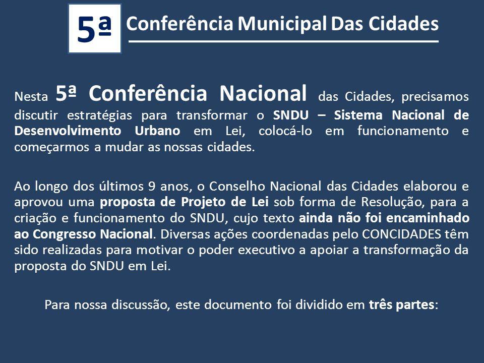 Conferência Municipal Das Cidades 5ª Nesta 5ª Conferência Nacional das Cidades, precisamos discutir estratégias para transformar o SNDU – Sistema Nacional de Desenvolvimento Urbano em Lei, colocá-lo em funcionamento e começarmos a mudar as nossas cidades.