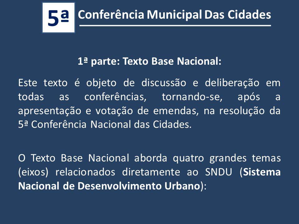 Conferência Municipal Das Cidades 5ª 1ª parte: Texto Base Nacional: Este texto é objeto de discussão e deliberação em todas as conferências, tornando-se, após a apresentação e votação de emendas, na resolução da 5ª Conferência Nacional das Cidades.