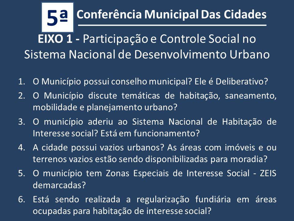 Conferência Municipal Das Cidades 5ª 1.O Município possui conselho municipal.