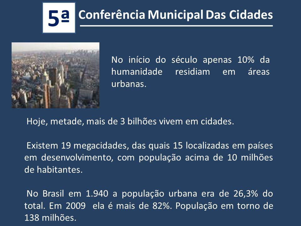 Hoje, metade, mais de 3 bilhões vivem em cidades.