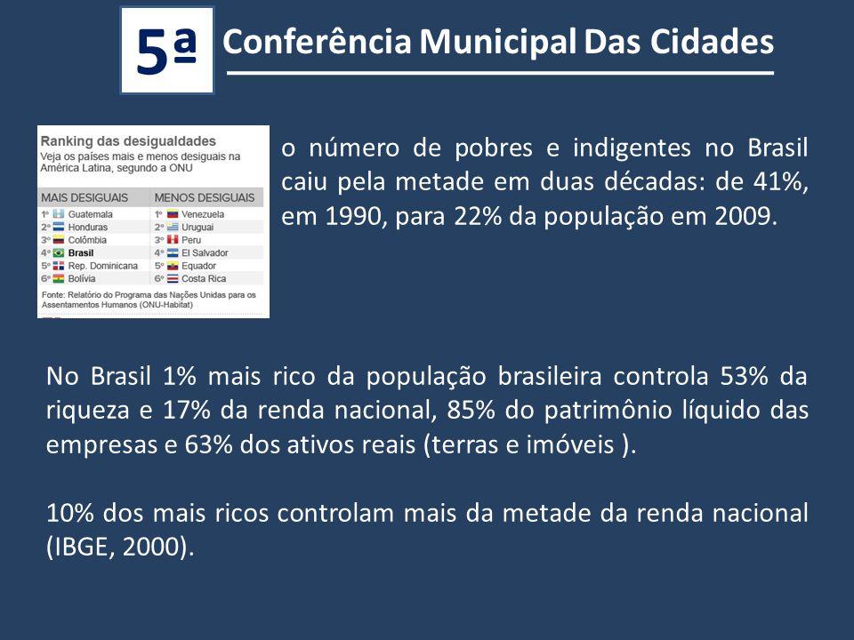 No Brasil 1% mais rico da população brasileira controla 53% da riqueza e 17% da renda nacional, 85% do patrimônio líquido das empresas e 63% dos ativos reais (terras e imóveis ).
