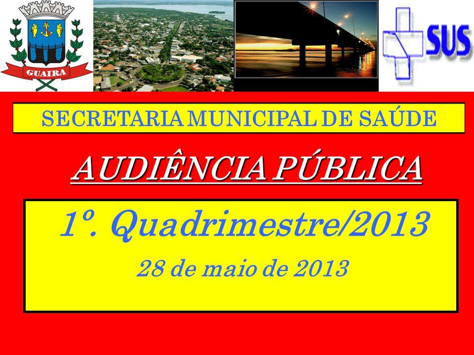 AUDIÊNCIA PÚBLICA 1º. Quadrimestre/2013 28 de maio de 2013 SECRETARIA MUNICIPAL DE SAÚDE
