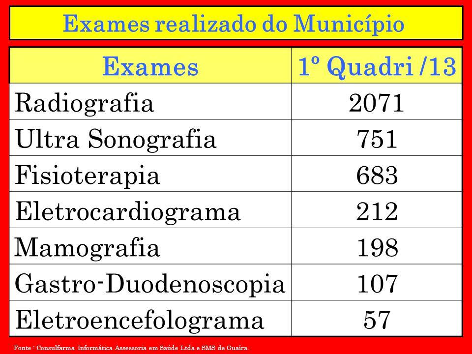 Exames1º Quadri /13 Radiografia2071 Ultra Sonografia751 Fisioterapia683 Eletrocardiograma212 Mamografia198 Gastro-Duodenoscopia107 Eletroencefolograma