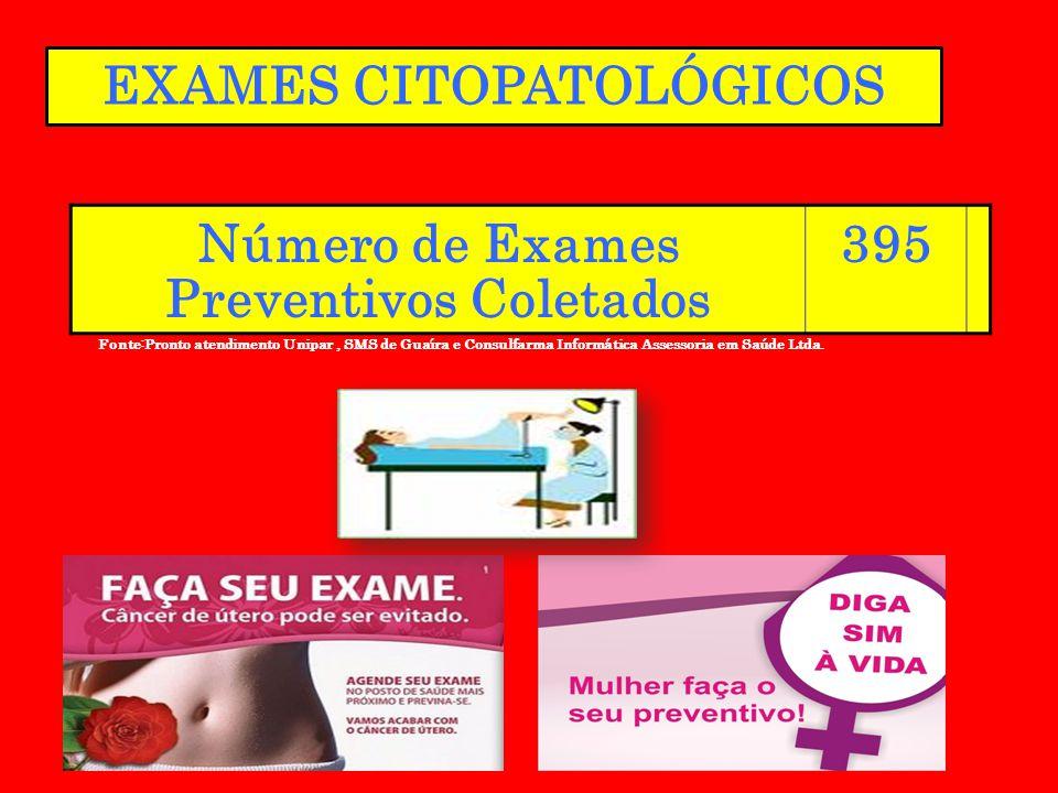 Número de Exames Preventivos Coletados 395 Fonte:Pronto atendimento Unipar, SMS de Guaíra e Consulfarma Informática Assessoria em Saúde Ltda. EXAMES C