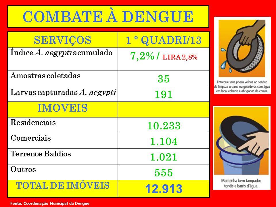 Fonte: Coordenação Municipal da Dengue SERVIÇOS1 º QUADRI/13 Índice A. aegypti acumulado 7,2% / LIRA 2,8% Amostras coletadas 35 Larvas capturadas A. a