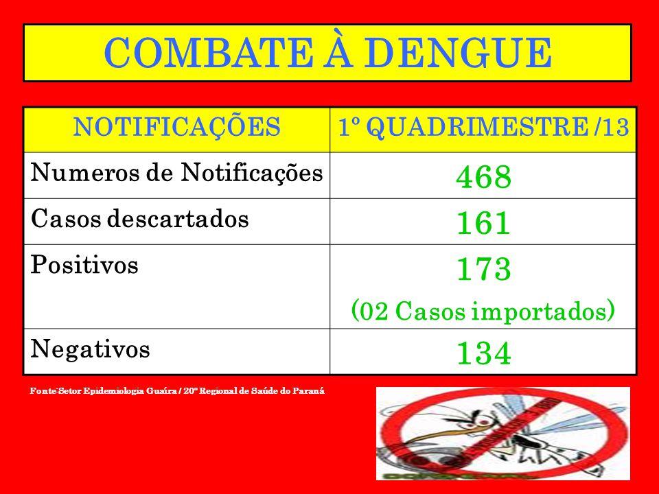 Fonte:Setor Epidemiologia Guaíra / 20º Regional de Saúde do Paraná COMBATE À DENGUE NOTIFICAÇÕES1º QUADRIMESTRE /13 Numeros de Notificações 468 Casos