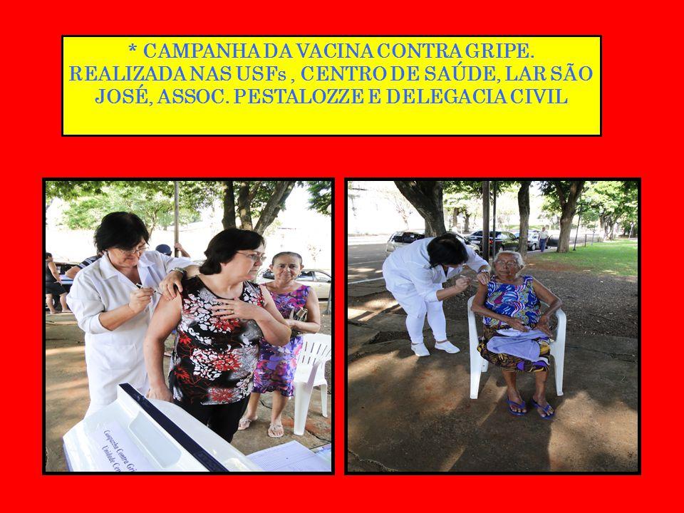 * CAMPANHA DA VACINA CONTRA GRIPE. REALIZADA NAS USFs, CENTRO DE SAÚDE, LAR SÃO JOSÉ, ASSOC. PESTALOZZE E DELEGACIA CIVIL