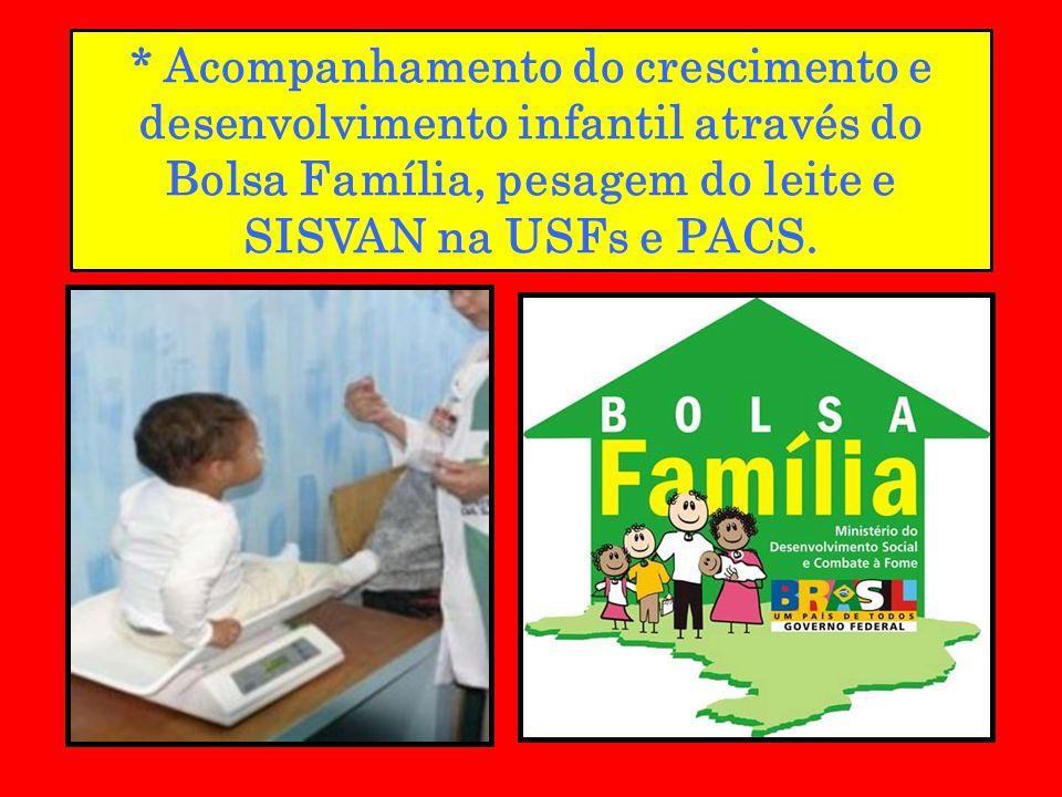 * Acompanhamento do crescimento e desenvolvimento infantil através do Bolsa Família, pesagem do leite e SISVAN na USFs e PACS.