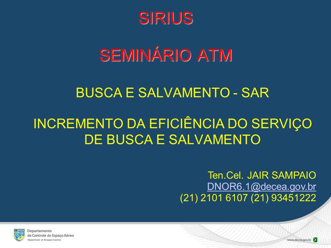 SIRIUS SEMINÁRIO ATM BUSCA E SALVAMENTO - SAR INCREMENTO DA EFICIÊNCIA DO SERVIÇO DE BUSCA E SALVAMENTO Ten.Cel.