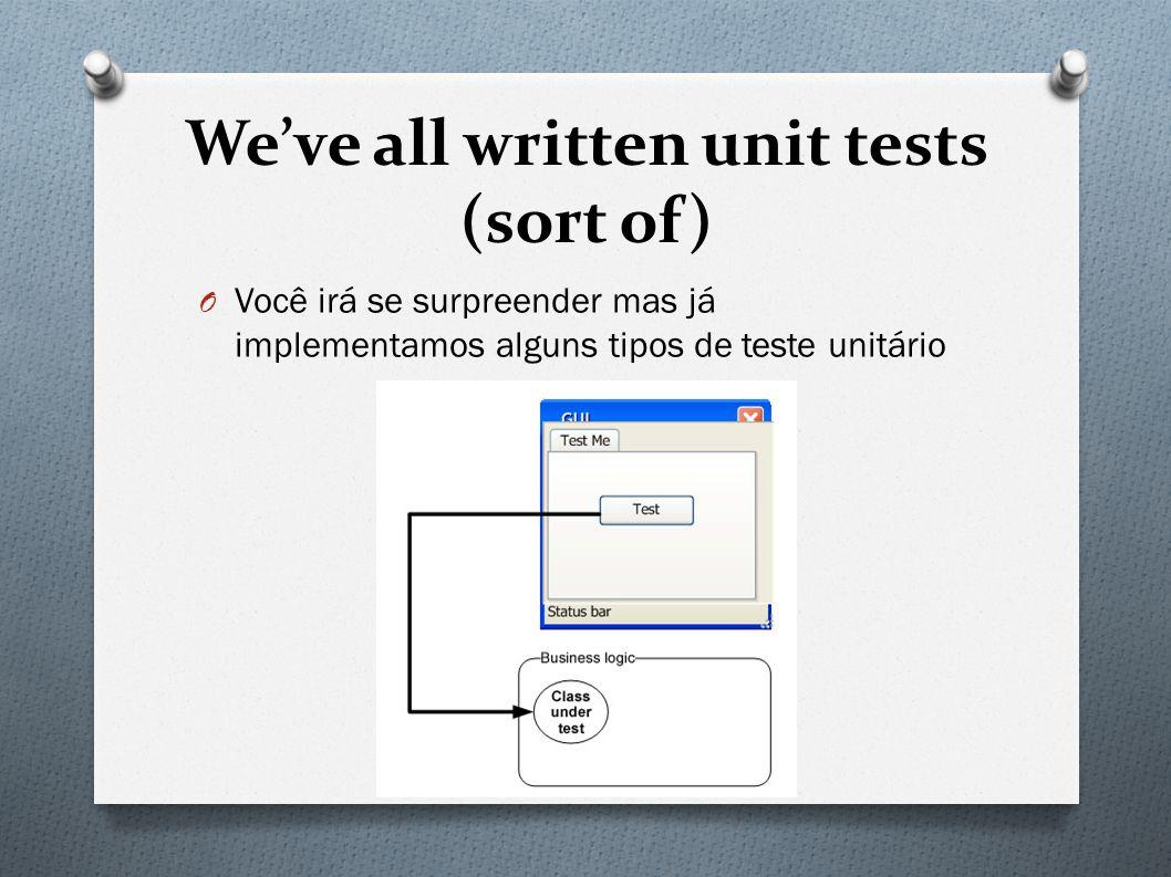 We've all written unit tests (sort of) O Você irá se surpreender mas já implementamos alguns tipos de teste unitário