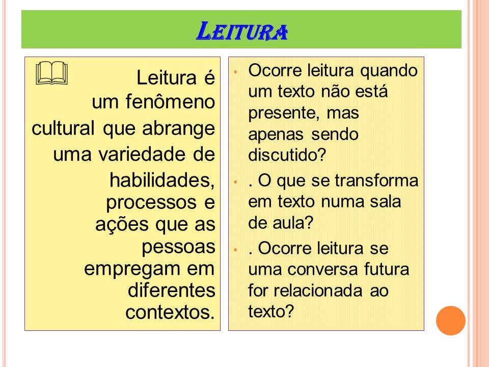 L EITURA  Leitura é um fenômeno cultural que abrange uma variedade de habilidades, processos e ações que as pessoas empregam em diferentes contextos.