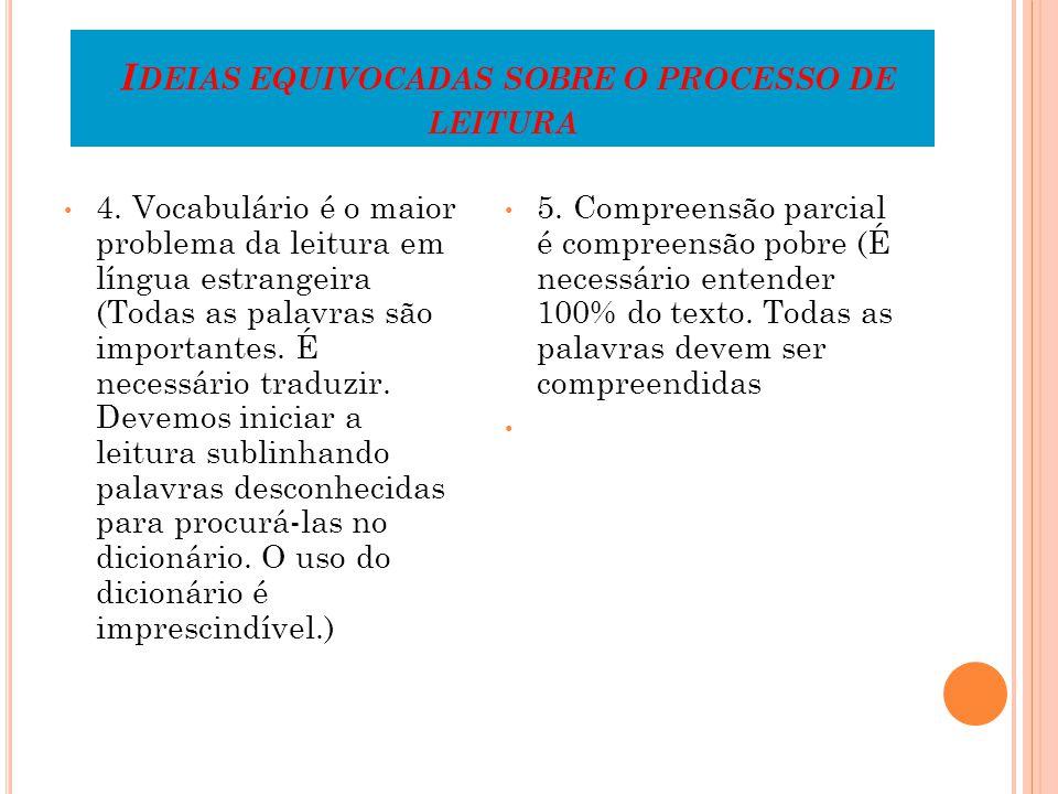I DEIAS EQUIVOCADAS SOBRE O PROCESSO DE LEITURA 4.