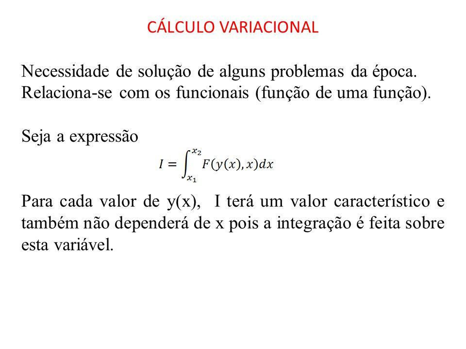 CÁLCULO VARIACIONAL Necessidade de solução de alguns problemas da época. Relaciona-se com os funcionais (função de uma função). Seja a expressão Para
