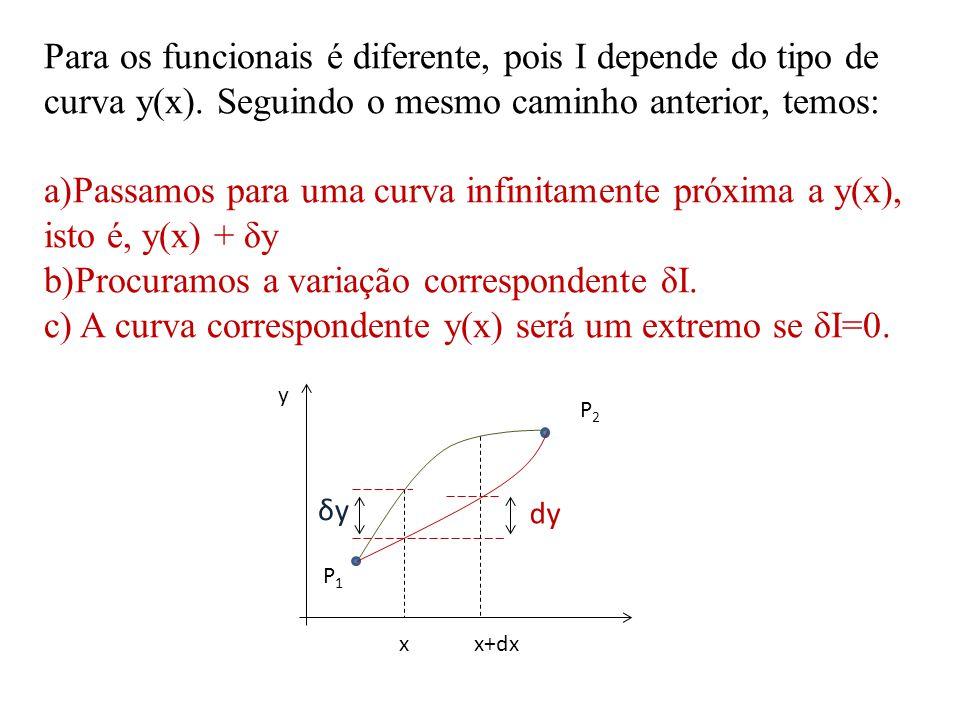 Para os funcionais é diferente, pois I depende do tipo de curva y(x). Seguindo o mesmo caminho anterior, temos: a)Passamos para uma curva infinitament