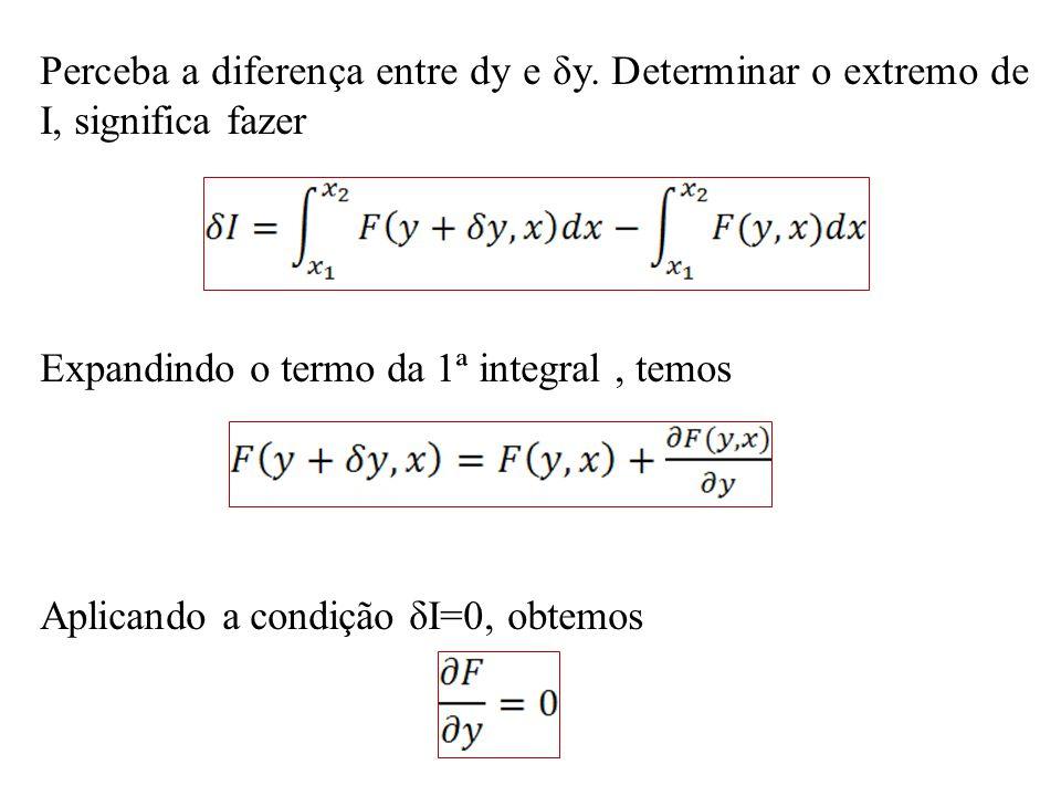 Perceba a diferença entre dy e δy. Determinar o extremo de I, significa fazer Expandindo o termo da 1ª integral, temos Aplicando a condição δI=0, obte