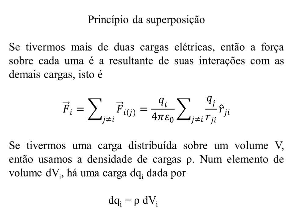 Se somarmos a contribuição de cada elemento, teremos a carga total e, desse modo, calculamos a força elétrica sobre uma dada carga Q.